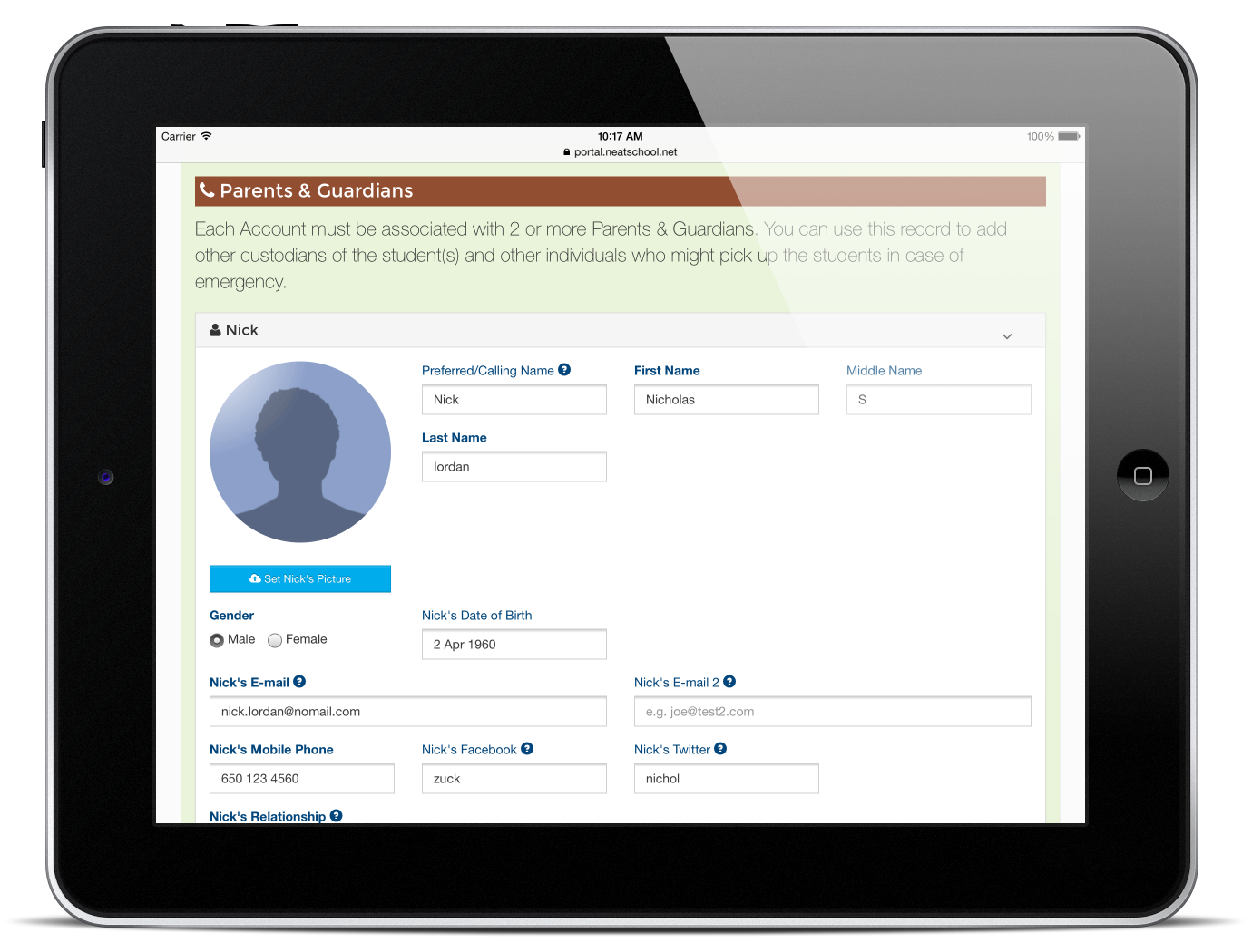 Online Enrollment Form with iPad